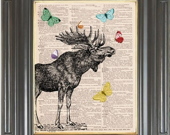 Moose Butterflies COUPON SALE Dictionary art print Wall decor Sheet music art Digital art print Nursery print Wall art Home decor Item No505
