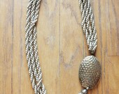 Vintage 70's Twisted Multi Strand Pounded Brass Nekclace