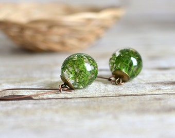moss jewelry botanical jewelry, terrarium jewelry nature jewelry, eco resin jewelry, gift for a woman, moss earrings  Nature Inspired