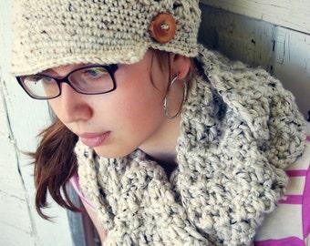 Ladies hat, girl hat, boy hat, crocheted newsboy brimmed hat, Unisex Beanie Crochet Hat in Ivory Tweed with Handmade branch button