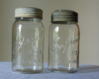 Vintage Imperial Glass Canning Jars with Zinc Screw Tops and Star Burst Glass Tops