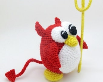 Daemon Penguin - pdf crochet toy pattern - amigurumi pattern tutorial