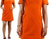 60s Mod Dress - Vintage Mini Dress - Mad Men Mini Dress - Burnt Orange Dress - Small - Medium