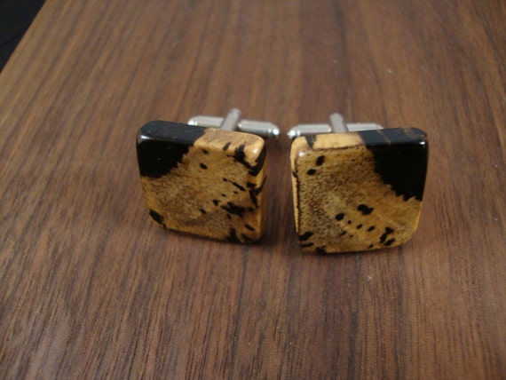 Wooden Men's Cuff Links - Black & White Ebony wood - Wedding, anniversary, any Special Occasio