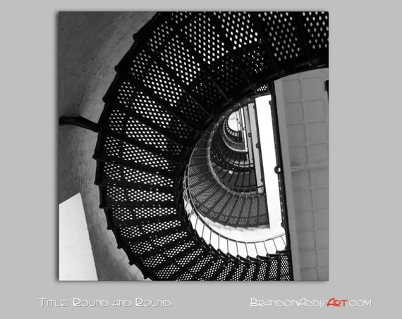 Round Black Wall Decor : Industrial wall decor round staircase print by brandonaddisart