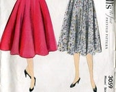McCall's 3059 Vintage 50s Full Skirt Sewing Pattern W26
