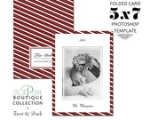 INSTANT DOWNLOAD 5x7 Folded Holiday Christmas Card Photoshop Template HC002
