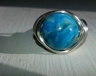 NEW GORGEOUS CHRYSOCOLLA Wire Wrapped Ring