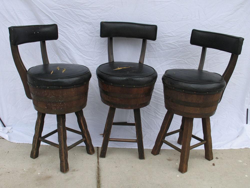 3 Vintage Whiskey Barrel Bar Stools