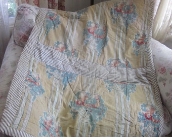 c1890 Antique 19th Century French Petite Boutis Quilt Throw Teal Grapes Fruit Flower Basket 2 Sided Burt Red Floral Toile K19