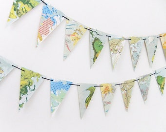 Map Bunting, Map Pennants, Eco-friendly bunting garland, Travel, Recycled Banner, Home Decor, Wedding decor