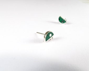 Sterling Silver Earrings, Green, Little Bug, Ear Studs, Modern, Contemporary, Minimal