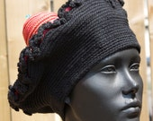 Black Mega Beret Crochet Hat with a Huge Red & Yellow Bump on Top for Fun-Loving People...