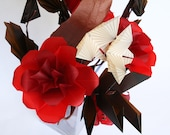 Rose Flutter - Elegant Origami Flowers Roses with Geometric Butterflies -  Full Bouquet