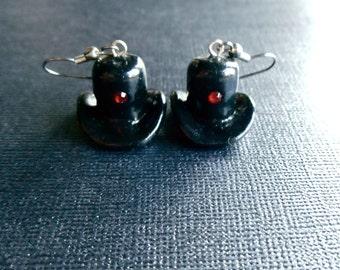 Small Dangle Earrings, Cute Earrings, Black Earrings, Top Hats Earrings, Miniature Earrings, Fun Earrings, Fashion Earrings, Red Crystal