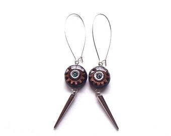 Long Silver Spike Earrings, Steampunk Jewelry, Steampunk Gears Earrings, Gear Cog Wheel, Steam Punk Earrings, Affordable Rocker Chic Jewelry