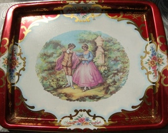 Vintage Metal Floral Tray by Daher English Garden Oval Tray Serving Vintage Kitchen Platter Made in England Wall Hanging Folk Art 111