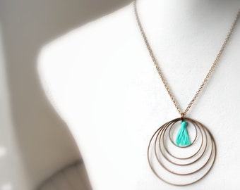 Bronze necklace with blue tassel- turquoise blue -  hoop jewelry- geometric necklace- statement necklace