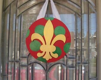 New Orleans Fleur de Lis Christmas red green gold polka dot, door decoration, wreath, custom painted, Cajun, Southern, Hostess Gift, Holiday