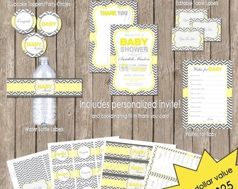 Neutral Baby Shower Yellow and Grey Chevron Invitation Party Package Printable(PARTIAL INSTANT DOWNLOAD)