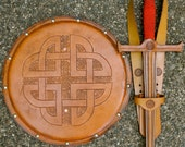 SWORD Set - Sword, Shield, & sword Belt w/ Celtic Knot Emblem - Handmade Leather