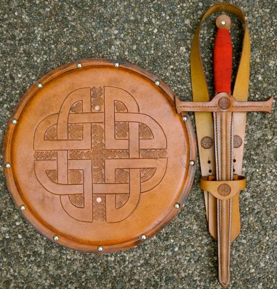 SWORD Set - Sword, Shield, & sword Belt w/ Celtic Knot Emblem - Handmade Leather