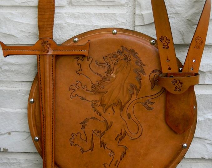 SWORD Set - Sword, Shield, & sword Belt w/ Lion Emblem - Handmade Leather