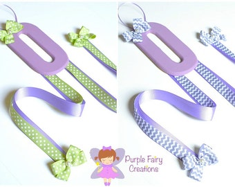 Initial Letter Hair Accessories Organizer - Lavender, Gray Chevron or Sage Green (Hair Bow & Headband Holder) Baby Girl, Girl or Teen Room