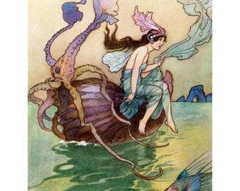 Sea Fairy Print - Princess Rides Nautilus Shell - Repro Warwick Goble