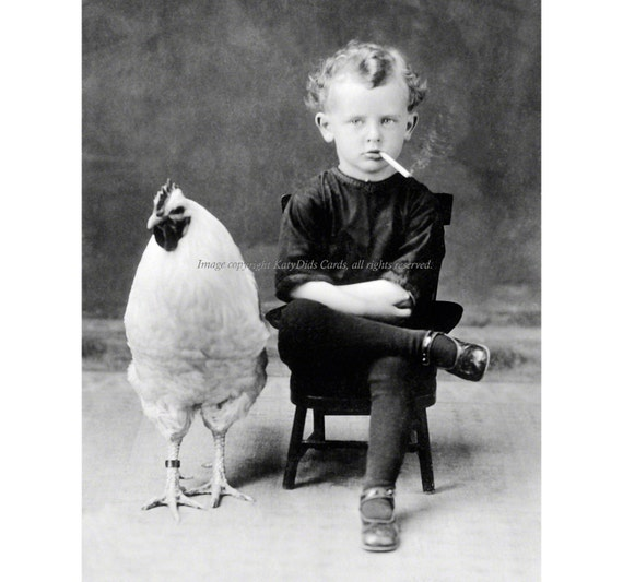 Chicken Boy Card - Child Smokes Cigarette - Repro Photo Greeting Card