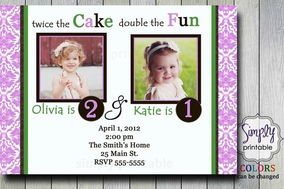 Purple Joint Party Girls Birthday Invitation