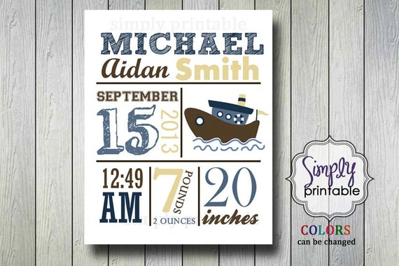 Boat Nursery Wall Print for Boys