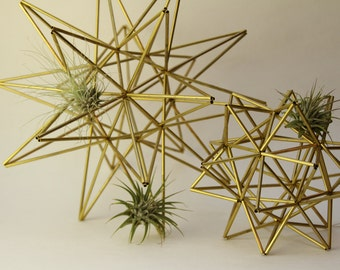 "Brass Moravian Star and Pollen Ball Set - 2 Scandinavian sculptures - 11"" sphere (28 cm) - 6.25"" sphere (16cm)"