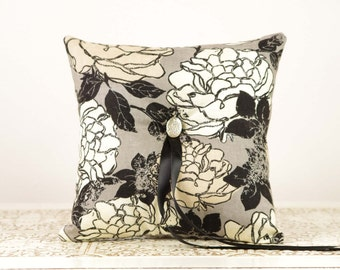 Black, Gray and Ivory Ring Bearer Pillow - Romantic Wedding Details - Floral Ring Bearer Pillow