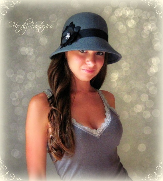 1920's 30's 40's Cloche Vintage Style Hat - Grey with Custom Black Flower Ribbon and Pearls