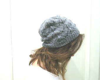 Hand Knitted GRAY SLOUCHY BEANIE,grey hat,Ready to Ship