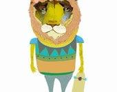 childrens art, lion print, kids decor, illustration poster - ''Lion Dude''.