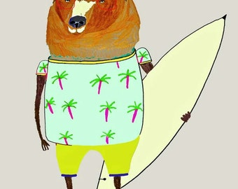 Surfer Dude Bear. surfer print, wall art, kids art print, surf decor, children's art print