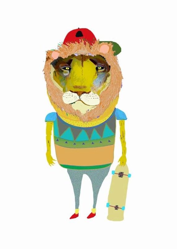 childrens art, lion print, kids art, lion wall art,  - ''Lion Dude''.