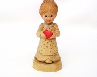 Vintage Girl Figurine | Wooden Doll | Anri Italy Carved Wood Figure | Anri Sarah Kay Figurine | Granddaughter Gift