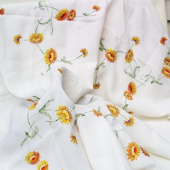 Large Floral Tablecloth, Embroidered Table Cloth - Mid Century Table Cover - Yellow Orange Flowers