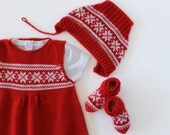 Knitted baby dress and socks with jacquard, in red and off white. 100% wool. Ready to ship size 0/3 months.