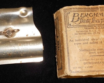 Vintage Berghman Ice Skate Sharpener in Original Box