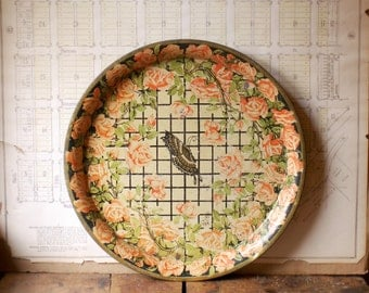 Vintage Floral Metal Tray with Butterfly Detail - Great Memo Board or Sign