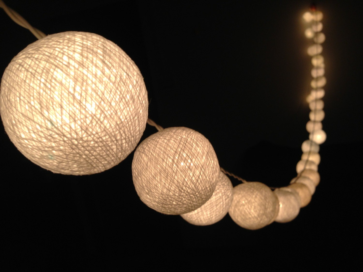Custom Party String Lights : On-Off Switch : Handmade White cotton ball string lights for