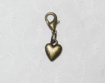 Puffy Heart Charm and Lobster Clasp