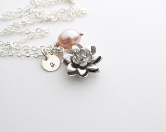 Personalized Charm Silver Lotus Flower, Freshwater Pearl Necklace, Sterling Silver, Monogram Water Lily Pearl Pendant, June Birthstone