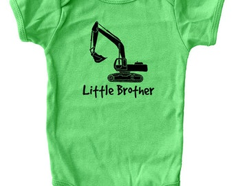 Little Brother Shirt - Baby One Piece - Green / Blue - Digger Excavator Truck Sizes 3-6 month, 6-12 month, 12-18 month, 18-24 month - Gift