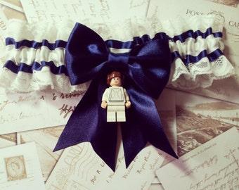 Star Wars garter, Star Wars Wedding, Princess Leia garter, Minifigure, Wedding garter, Geek Garter, Alternative bride, Blue garter, Rebel