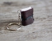 mini book keychain, key accessories leather keychain, men women keychain, key fob book keychain, book lover miniature journal - purple